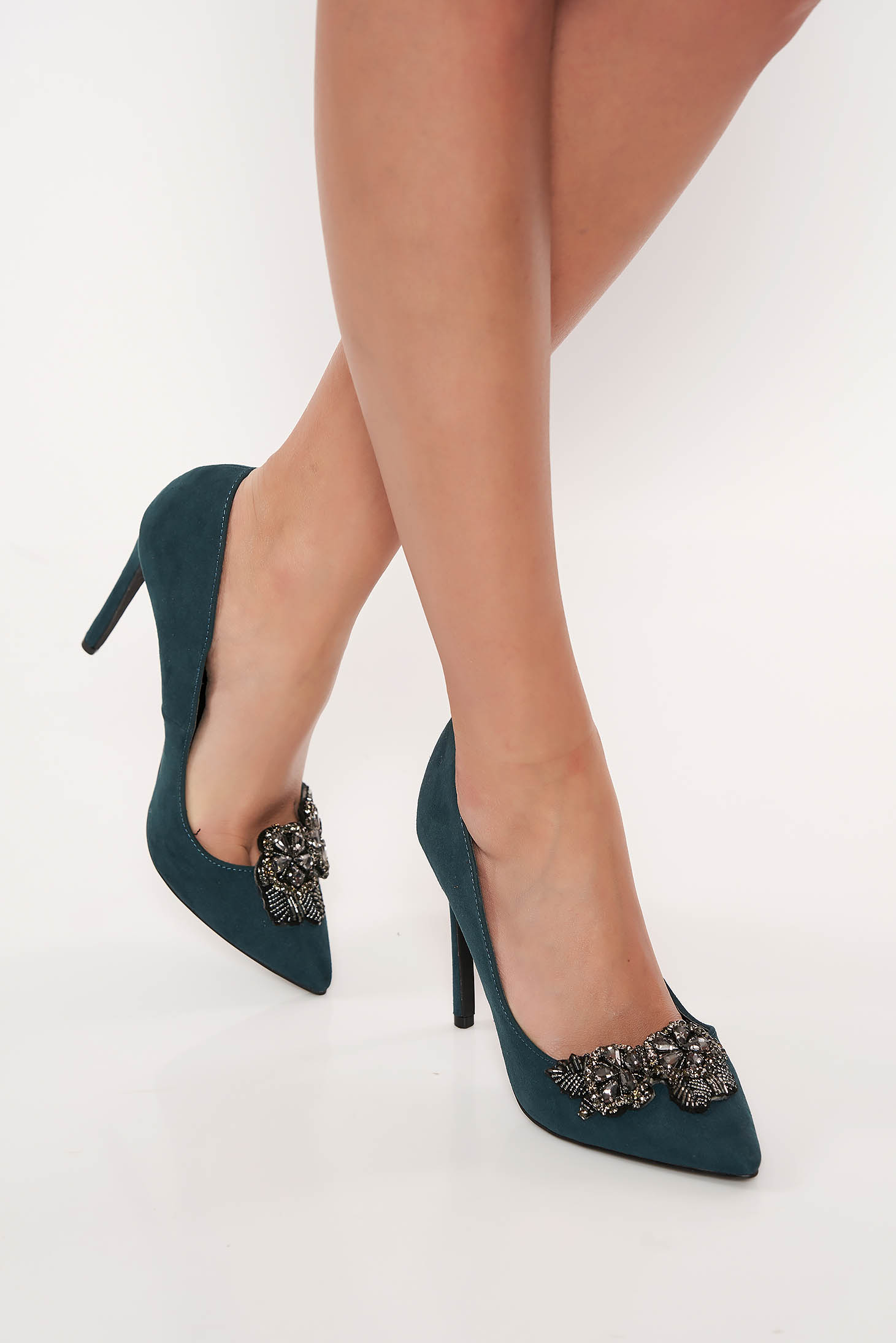 Top Secret green elegant shoes from ecological leather slightly pointed toe tip with small beads embellished details