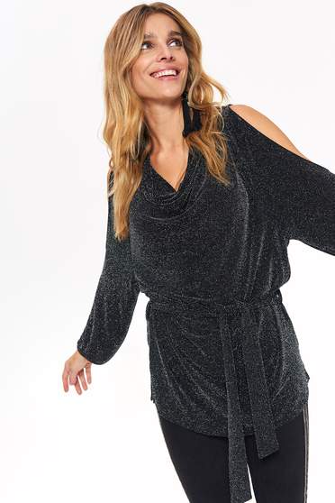 Top Secret black occasional flared women`s blouse both shoulders cut out accessorized with tied waistband