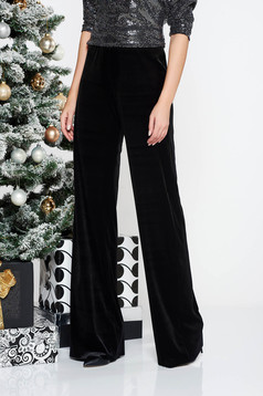 StarShinerS black occasional flaring cut high waisted velvet trousers