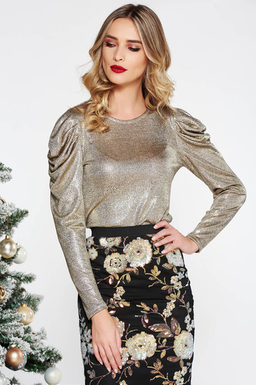 StarShinerS gold elegant sweater with tented cut knitted fabric with puffed sleeves