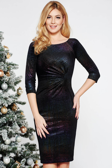 Black occasional pencil dress from shiny fabric with inside lining with 3/4 sleeves