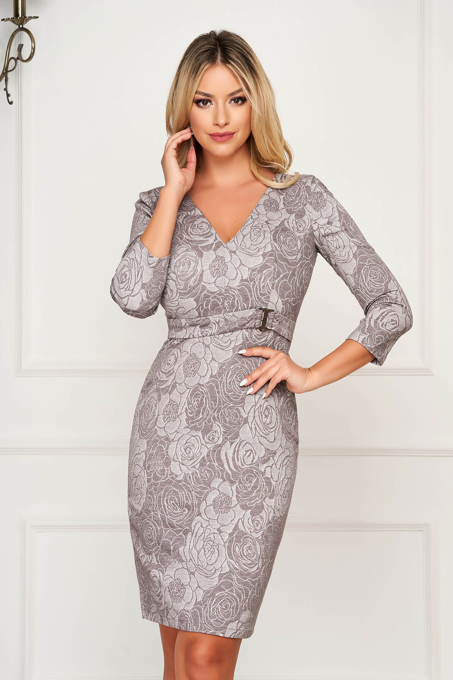 Grey elegant midi pencil dress from soft fabric with inside lining accessorized with tied waistband