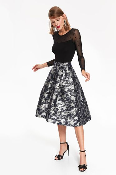 Top Secret darkblue occasional high waisted cloche skirt with floral print