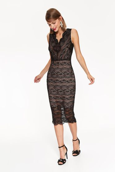 Top Secret black occasional pencil dress from laced fabric with v-neckline