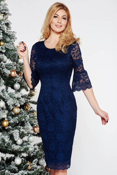 Darkblue occasional midi pencil dress laced with inside lining with bell sleeve