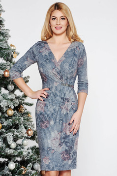 Grey elegant midi pencil dress knitted fabric with lame thread with inside lining with v-neckline