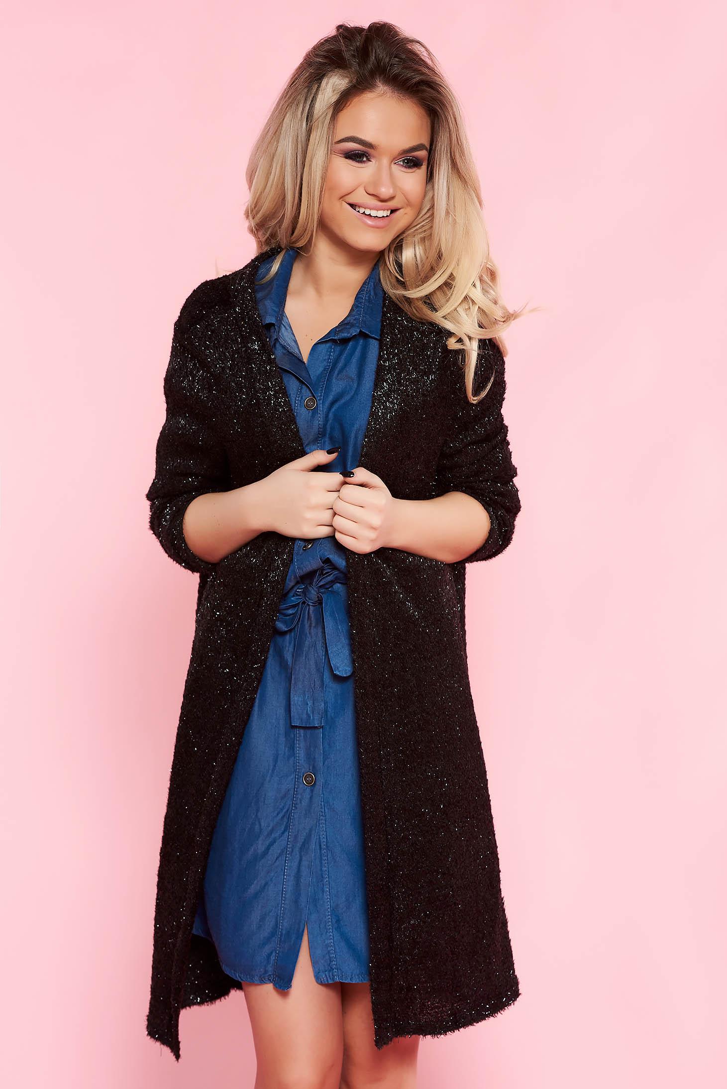 Cardigan Top Secret negru casual cu croi larg din material tricotat cu maneci lungi