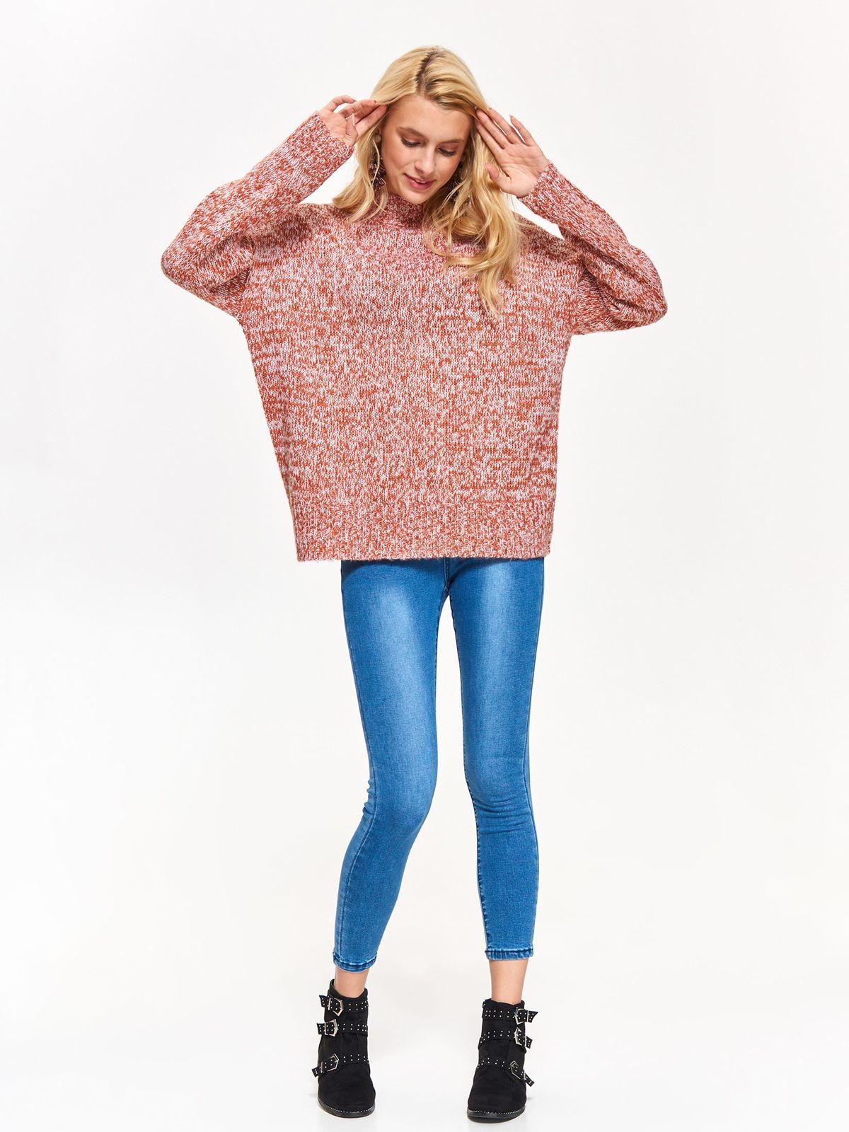 Pulover Top Secret crem casual cu croi larg din material tricotat