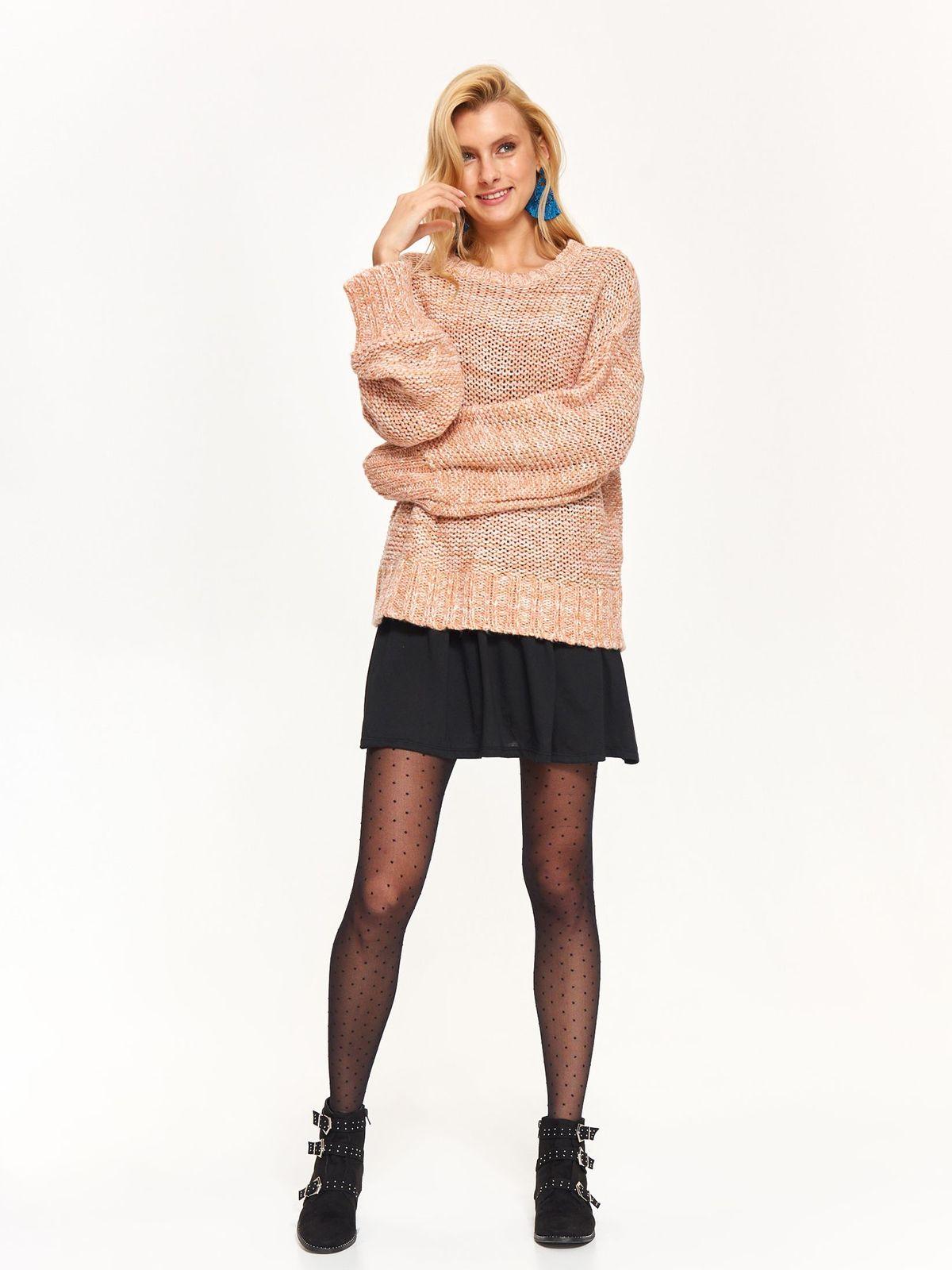 Pulover Top Secret maro-deschis casual cu croi larg cu maneca lunga din material tricotat