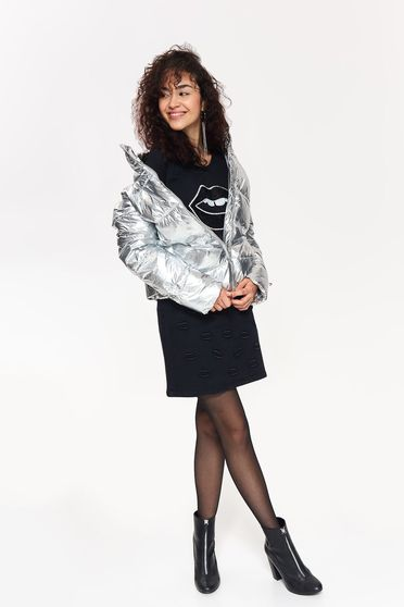 Top Secret silver casual from slicker jacket with metallic aspect