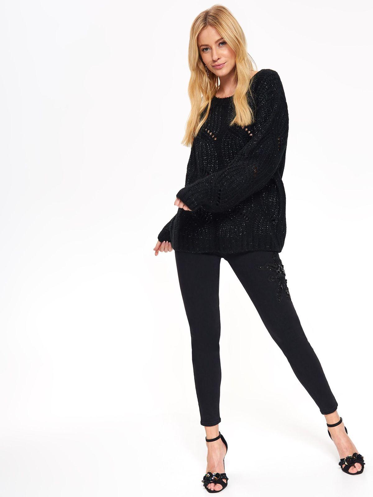 Pulover Top Secret negru cu croi larg din material tricotat cu maneci lungi