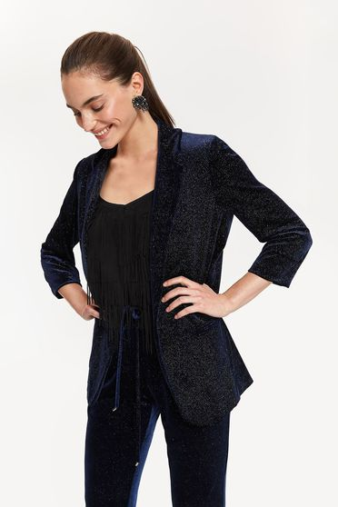 Top Secret darkblue elegant blazer jacket with straight cut from velvet with bright details