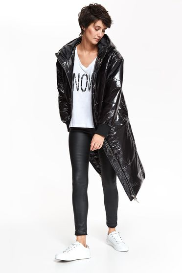 Top Secret black casual jacket from shiny fabric with straight cut with undetachable hood