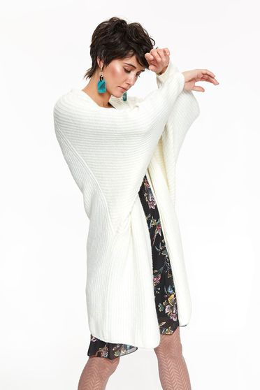 Top Secret cream casual flared cardigan sweater knitted fabric