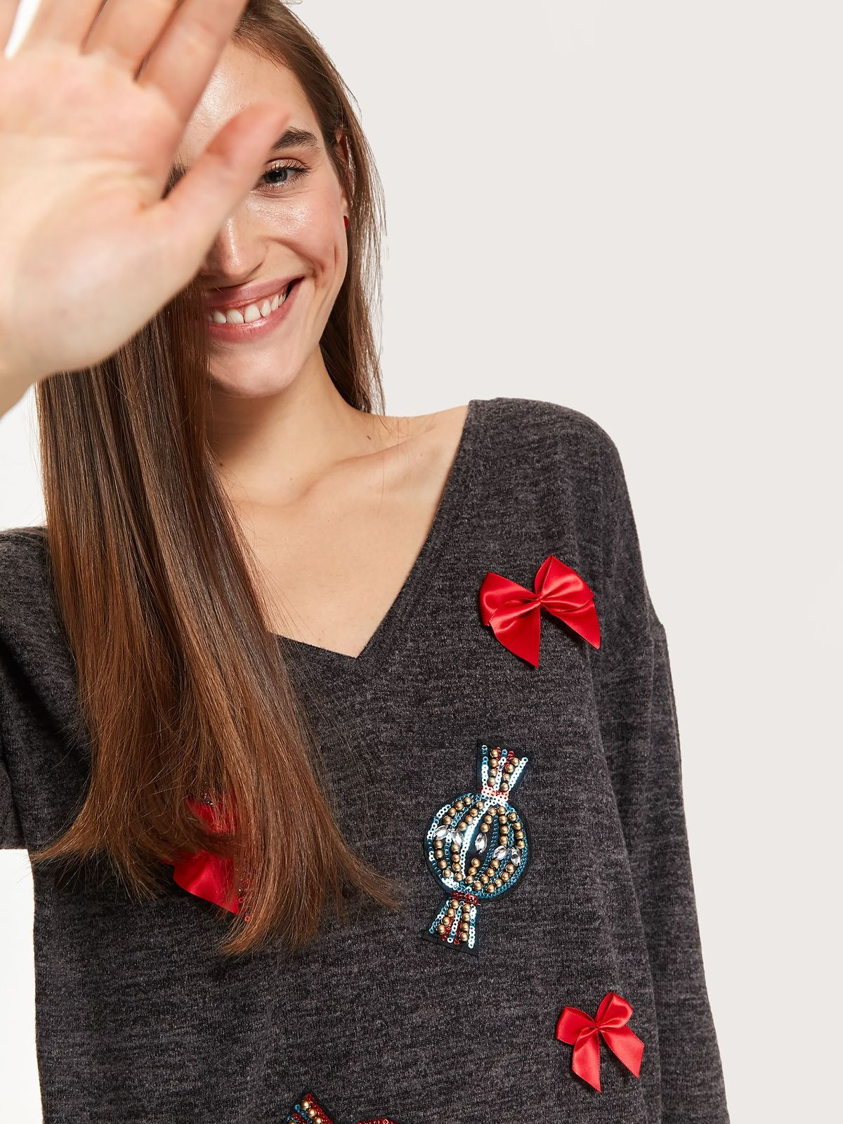 Darkgrey women`s blouse casual knitted with bow accessories