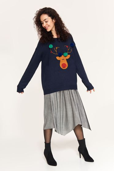Top Secret darkblue casual knitted fabric sweater with easy cut with tassels
