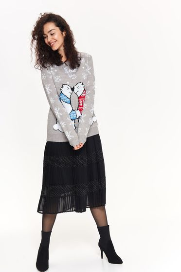 Top Secret grey casual flared sweater knitted fabric with tassels