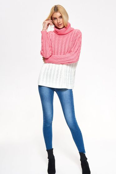 Top Secret pink casual flared turtleneck sweater knitted fabric