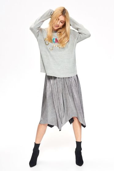Top Secret grey casual flared sweater knitted fabric with sequin embellished details