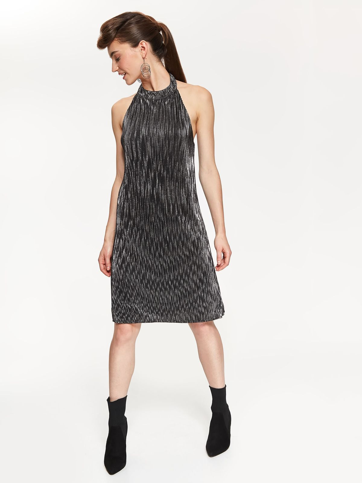 Top Secret silver occasional flared dress off shoulder from shiny fabric with metallic aspect