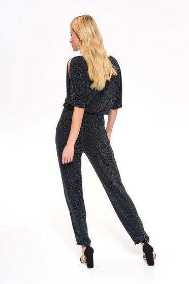 Top Secret black occasional jumpsuit from elastic fabric with cut-out sleeves with elastic waist accessorized with tied waistband