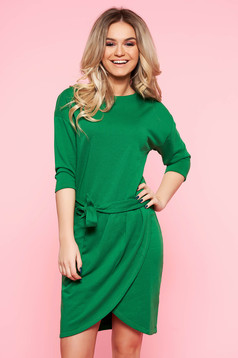 Top Secret green casual dress with straight cut slightly elastic cotton accessorized with tied waistband