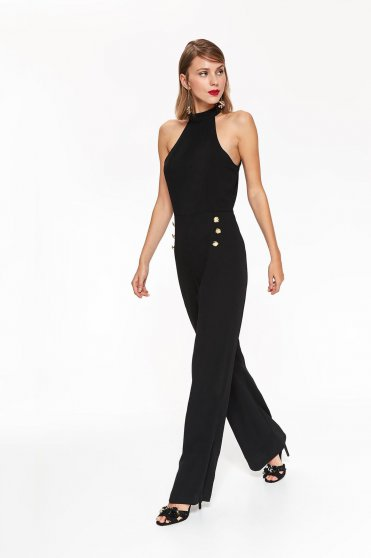 Top Secret black occasional jumpsuit flaring cut with button accessories