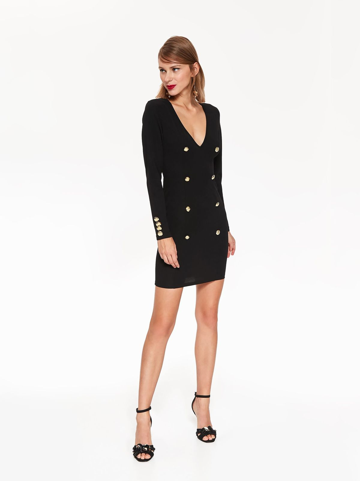 Top Secret black occasional pencil dress with a cleavage with button accessories