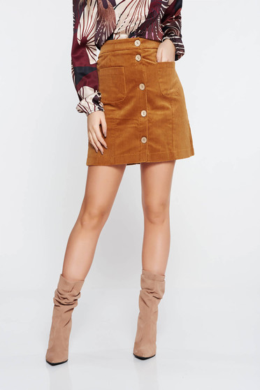 Top Secret orange casual velvet skirt with medium waist flaring cut
