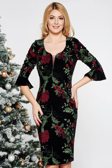Burgundy occasional embroidered dress with tented cut velvet with inside lining with v-neckline