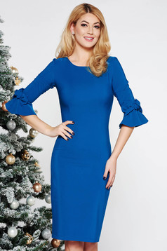 LaDonna turquoise elegant pencil dress slightly elastic fabric with inside lining with bell sleeve