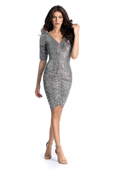 Ana Radu silver occasional dress with a cleavage with puffed sleeves with sequins
