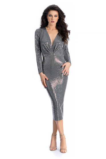 Ana Radu silver occasional midi dress with tented cut with v-neckline with sequins