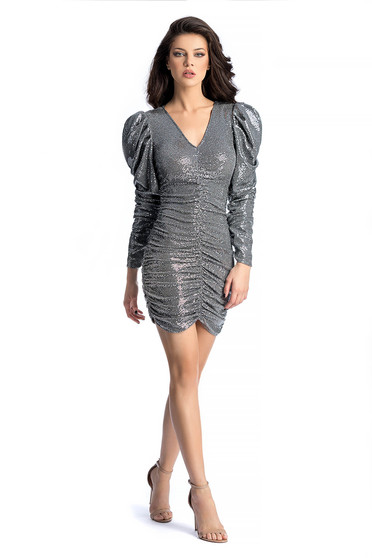 Ana Radu silver occasional dress with sequins with tented cut with puffed sleeves
