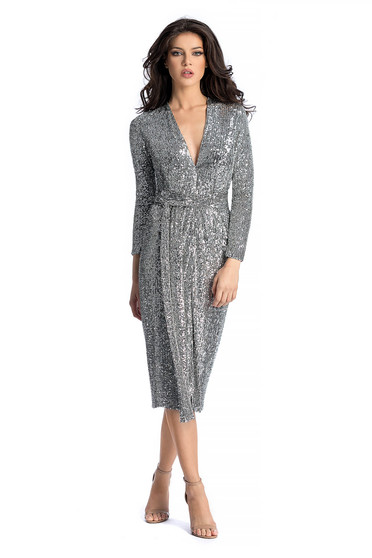 Ana Radu silver occasional dress with sequin embellished details flaring cut with v-neckline accessorized with tied waistband