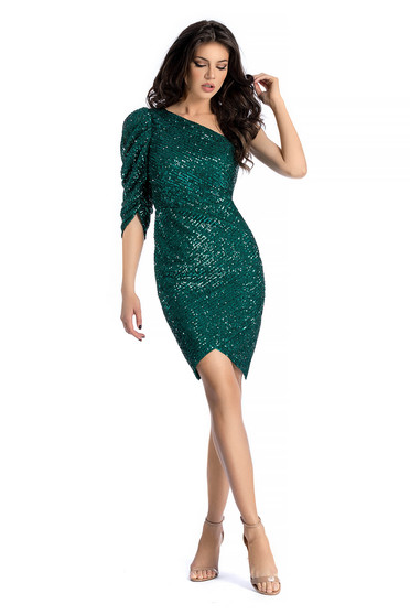 Ana Radu occasional dress with sequins green with tented cut with puffed sleeves