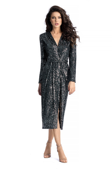 Ana Radu black occasional cloche dress with sequins with v-neckline accessorized with tied waistband
