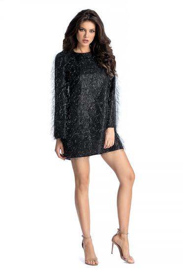 Ana Radu black occasional flared dress from satin fabric texture