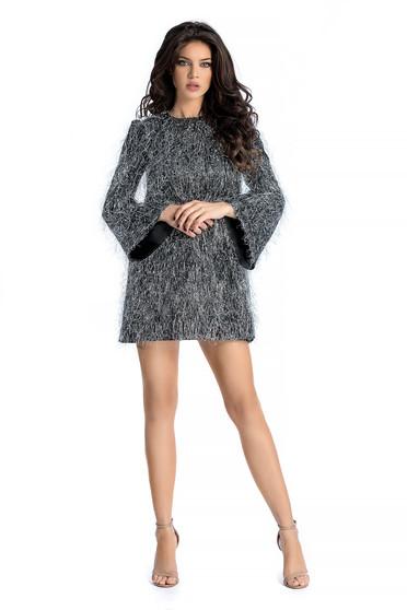 Ana Radu silver occasional flared dress from satin fabric texture