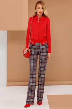 PrettyGirl red flared office trousers with medium waist slightly elastic fabric