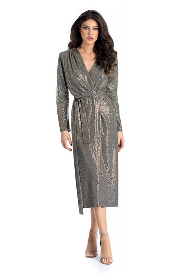 Ana Radu gold occasional cloche dress with sequins with v-neckline accessorized with tied waistband