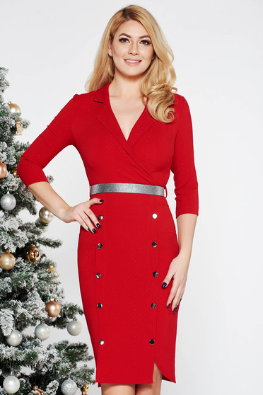 Fofy red elegant midi dress slightly elastic fabric with button accessories