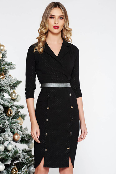 Fofy black elegant midi dress slightly elastic fabric with button accessories