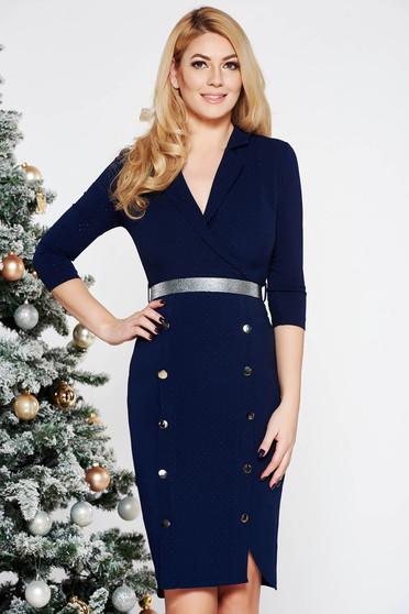 Fofy darkblue elegant midi dress slightly elastic fabric with button accessories