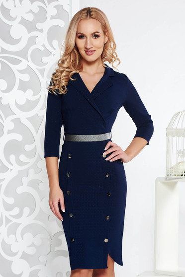 Fofy darkblue elegant midi dress slightly elastic fabric with button accessories