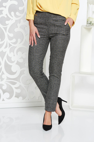 Fofy grey office conical trousers slightly elastic fabric with medium waist with pockets