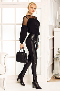 Fofy black trousers with medium waist ecological leather with crystal embellished details