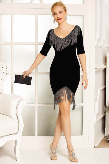 Fofy black occasional from velvet dress with fringes with tented cut with v-neckline