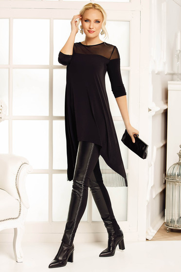 Fofy black elegant asymmetrical women`s blouse with easy cut airy fabric