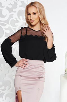 Fofy black elegant flared women`s blouse with puffed sleeves